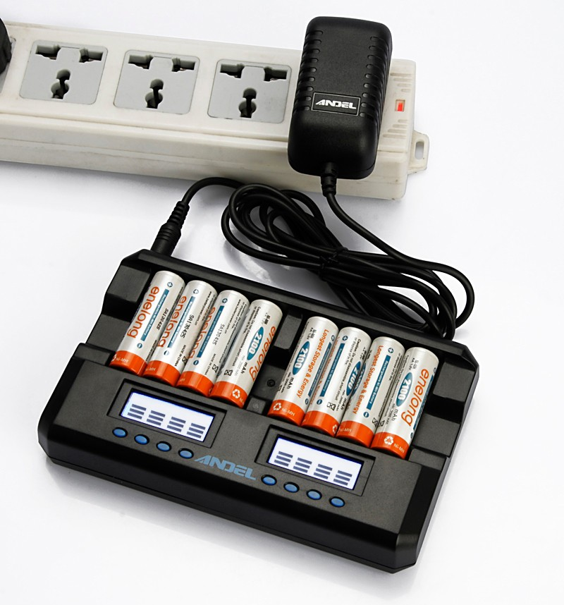 Factory wholesale 8 bay ni-mh aa aaa battery charger