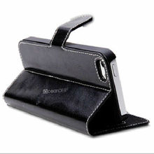Plain sewing stand-function leather flip case for iphone5'' original case for books China cell phone accessories new product