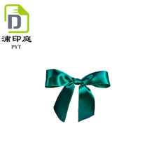 Hand work DIY small green satin ribbon bow for decoration hair accessories