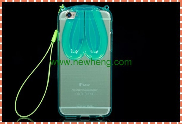 Hot selling soft tpu transparent rabbit case with stand for iphon6/6 plus