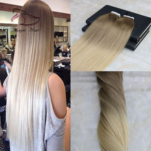 100% virgin brazilian hair tape double drawn light brown to blonde omber color tape in hair extension