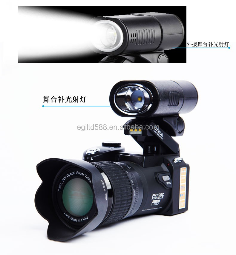 2017 NEW D7200 Digital Camera Support 33MP 24X Telephotos Lens & 8X Digital Zoom Wide Angle Lens LED Spotlight HD Camcorder