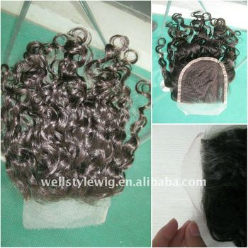 Curly Virgin hair lace top closure