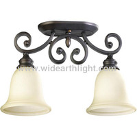 UL CUL Listed Painted Black Hotel Room Vintage Ceiling Mount Light Fixture With Double Glass Shades C80245