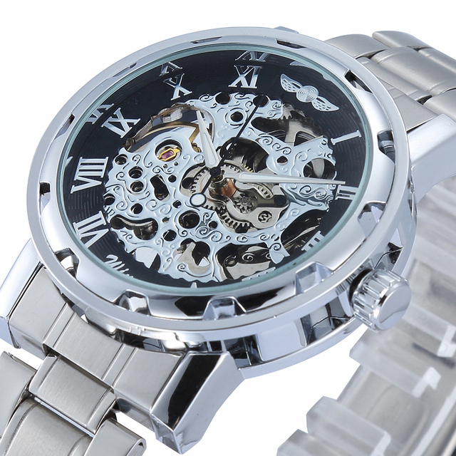Men's Skeleton Mechanical Watch Winner wristwatch Man watches Leather Relogio Masculino Luxury Fashion Casual