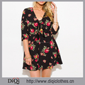 New Model Beautiful Summer Romper Black Floral Print Quarter Sleeve Tie Front Boho Beach Playsuit Jumpsuit
