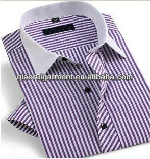 Popular design mens party wear luxury shirts Contrasting collar 100%Cotton Stripes Dress/Formal short sleeve shirt for men