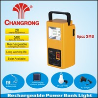 rechargeable power bank portable light with USB charging and solar panel