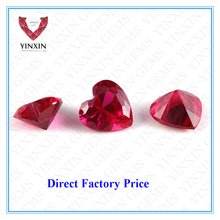 Faceted cut heart red ruby synthetic corundum