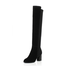 2017 most popular black genuine leather boots over the knee for women