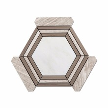 White Carrara Big Hexagon Marble Mosaic