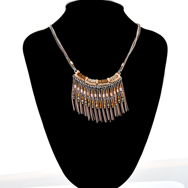 Handmade crystal statement necklace in lt brown color, glass tube beads paved zinc alloy charm collar necklace with tassel