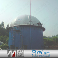 underground biogas waste container system with membrane cover/gas holder
