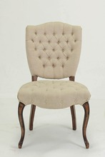 Antique European style upholstered button tufted solid wood dining chair
