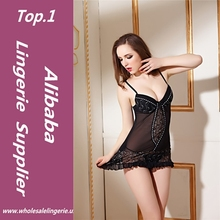 High quality sexy mature women lingerie hot sale short nighty in babydoll