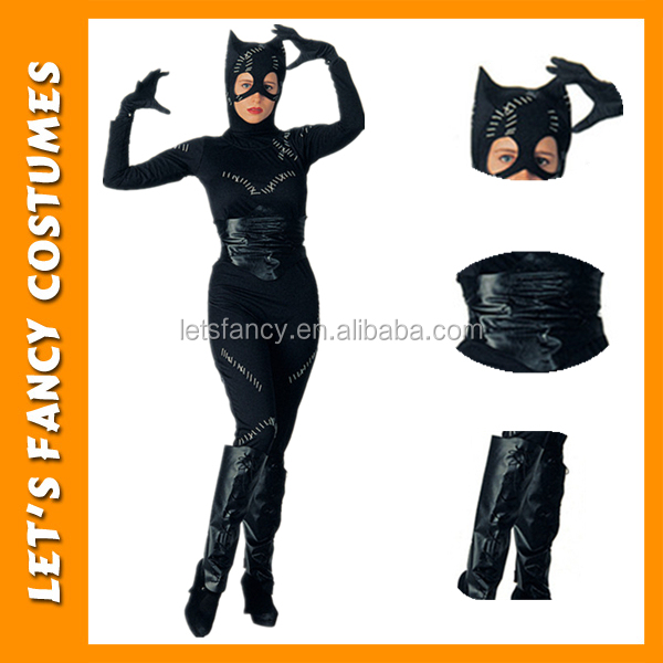 PGWC1957 Hot selling Black Sexy Womens Jumpsuit Leather And Latex Catsuit