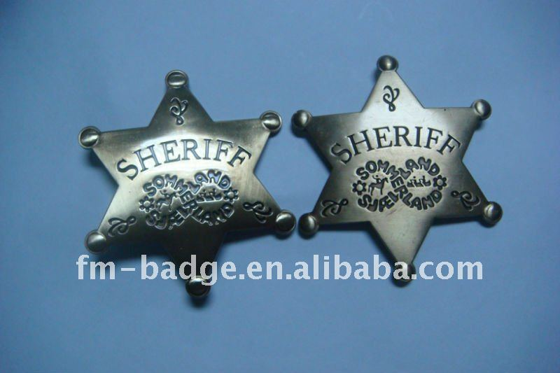 China manufacturer wholesale customzied metal star shape sheriff badge medal , high quality metal pin badge without shape