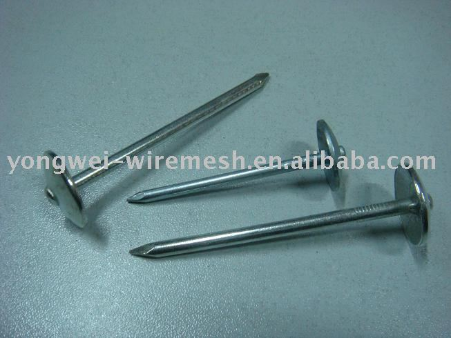 Roofing nails with umbrella head