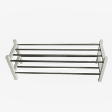 Home decorative stainless steel shoe rack with Pine wood to Solid