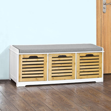 Shoe Cabinet Storage Unit Bench with 3 Drawers & Seat Cushion
