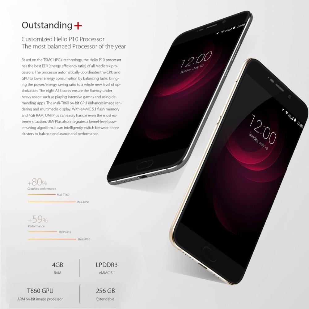 "Orignial Umi Plus Mobile Phone 4G Fingerprint 4000mAh 5.5"" FHD Smartphone Android 6.0 MTK6755 Octa Core Cellphone 4GB+32GB 13MP"