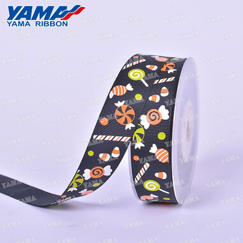 Black halloween candy printing 100% polyester grosgrain ribbon