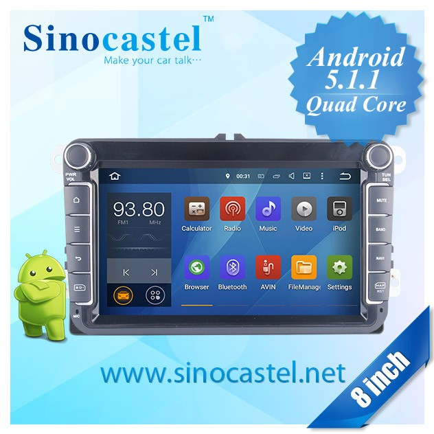 Sinocastel high quality 8 inch Android car audio player with 3G,Bluetooth,E-Link for vw universal series