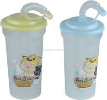 450ml Food Grade Custom Printed Children Plastic Straw Cup PP Drinking Water Bottle for Kids