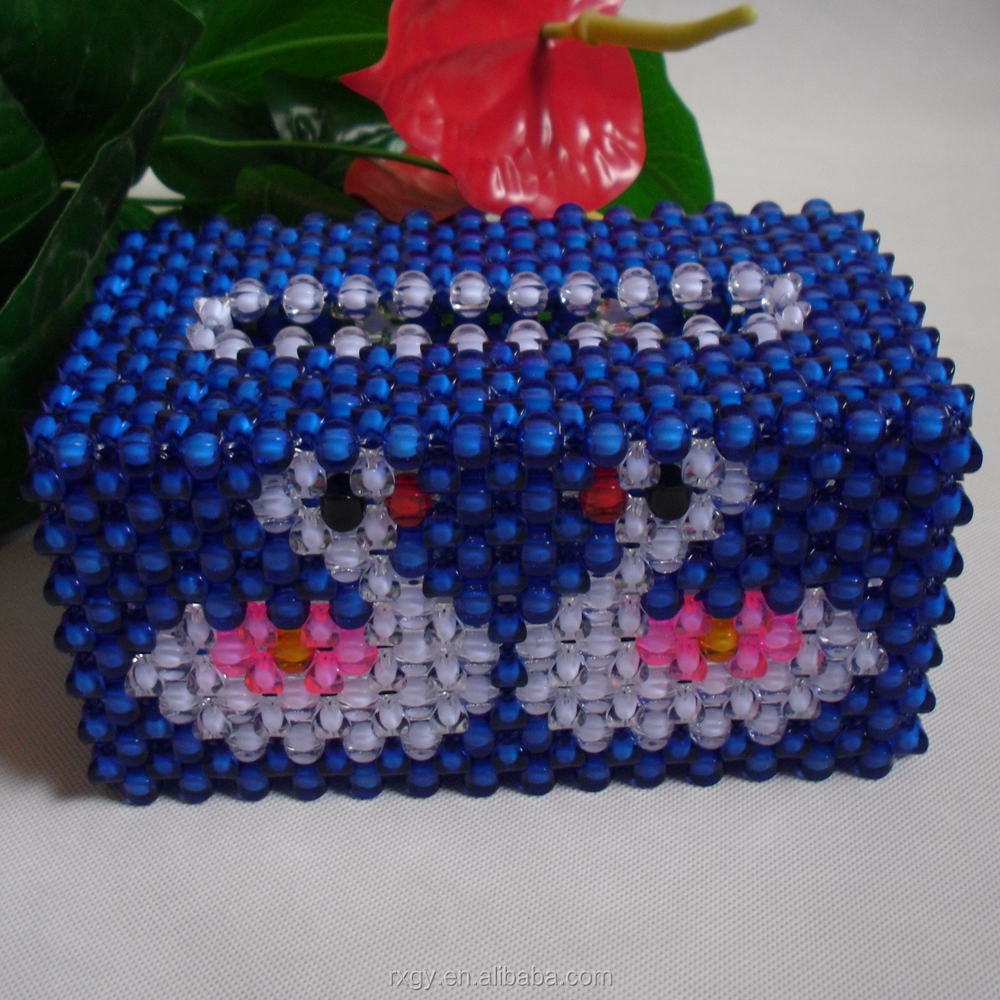 Acrylic plastic beads tissue box of handicraft and hand-beaded napkin dispenser