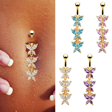 316L Surgical Steel 14k Gold Three Butterfly Dangle Navel Belly Ring Bar Barbell Body Piercing
