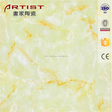 yellow cloud pattern marble polished glazed tile for floor