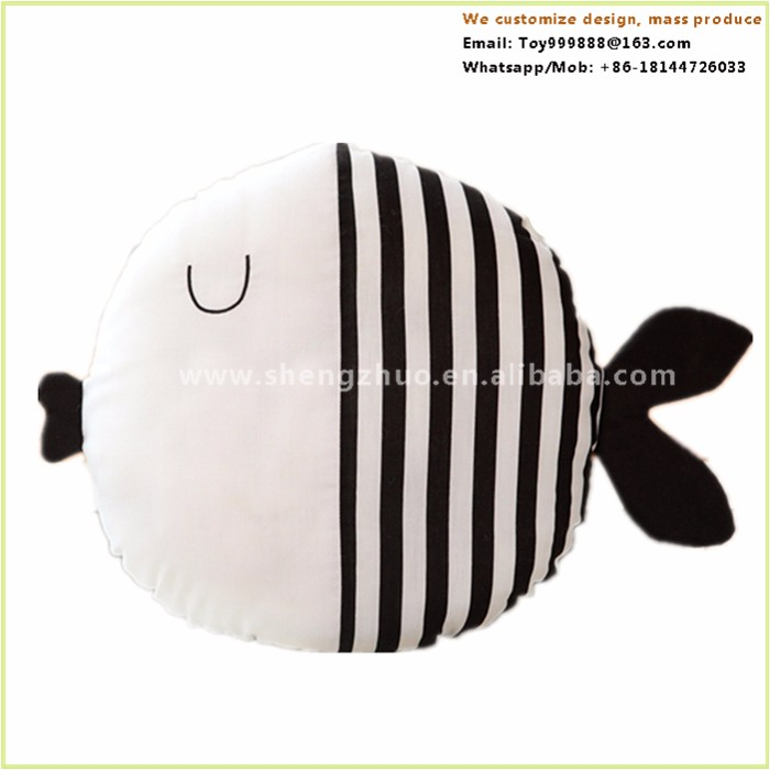 Black white fish animal toys travel christmas custom printed pillow