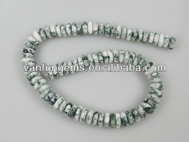 good quality White Moss Agate centre drill rondelles semi precious gemstone