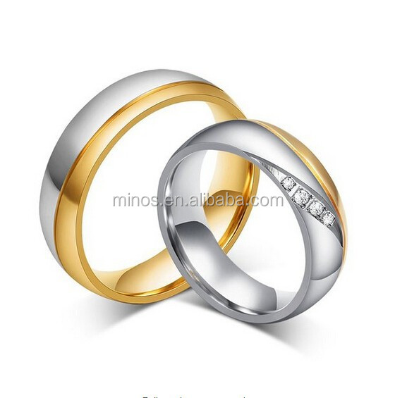 Silver Gold Micro CZ Set Embeded Pave Wave Stones Stainless Steel Valentine Band Lovers Couples Wedding Promise Ring