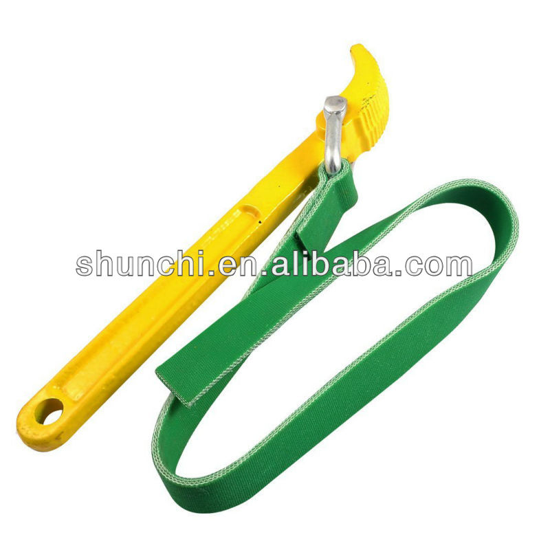 Car Oil Filter Strap Belt Type Wrench Spanner Hand Tool Yellow Green