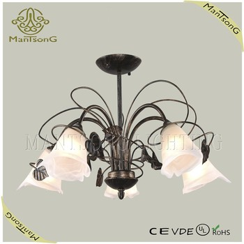 Russian glass flower lampshade antique ceiling chandelier light with crystal decoration