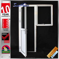 AS2047 glass office entry doors/half buckle casement door with half glass design