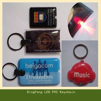 Wholesale souvenir led keychain, pvc light keychain, pvc keyring
