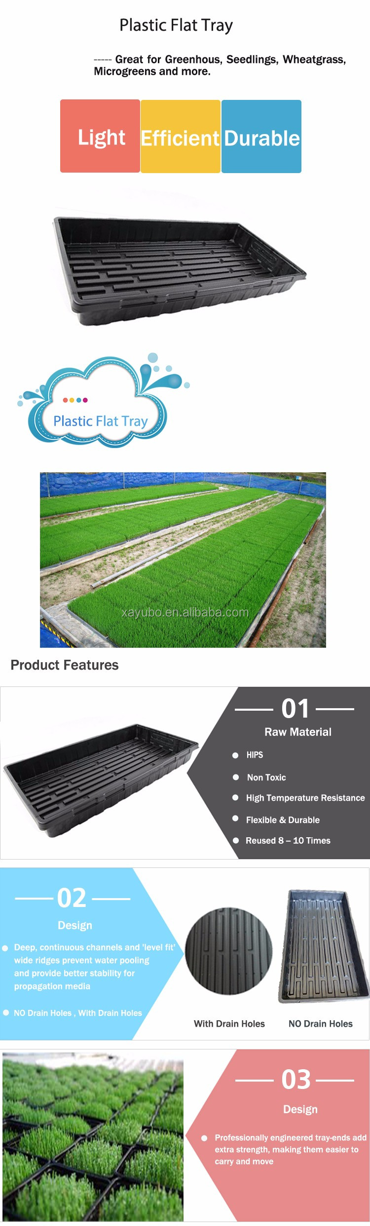 Hot sale Good Quality 20*10 inch Plastic Flat tray For Greenhouse