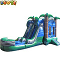 Blue Crush Combo inflatable Bounce House w/Dual Lane Water Slide&Pool