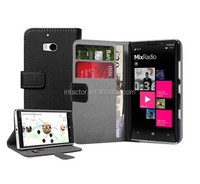 Wallet BLACK Leather Flip Case Cover Pouch For Mobile Phone Nokia Lumia 930