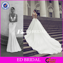 Latest Designs Lace Chiffon Mermaid Wedding Dress 2016 With Detachable Train