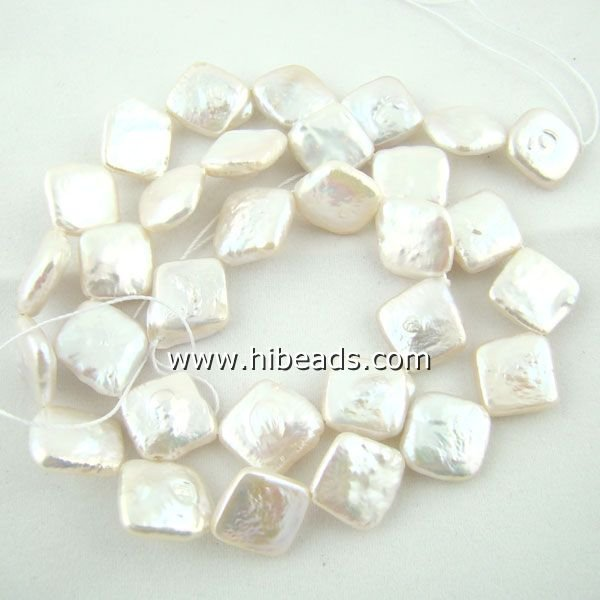 Fresh water white square biwa pearl strands LPS0088-0025-1