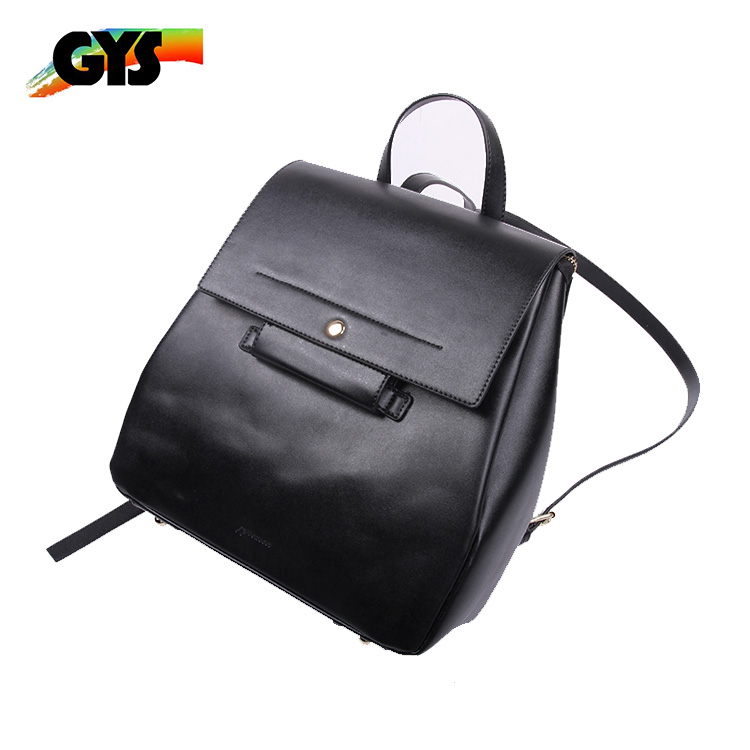 Customized Black PU Leather Girls Casual Backpack Bag