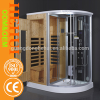 RC-A943 outdoor sauna and square glass cabin shower for outdoor sauna