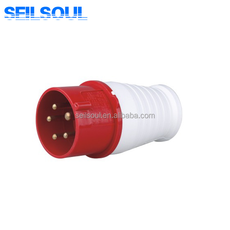 SSL-015 Red White Outdoor 16A 6H 3 PIN 3P+N+E Male Electrical Industrial Plug
