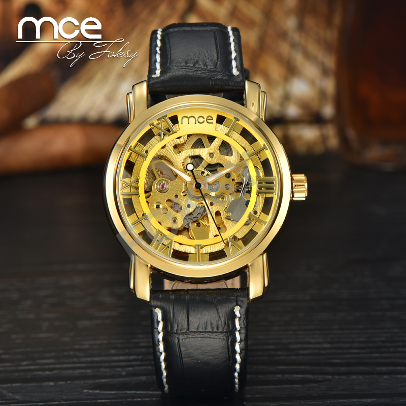 MCE Branded Luxury Automatic Waterproof cheap automatic Gold Skeleton Mechanical Wrist Watch Man