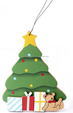 2017 new hotsale China hand made cheap wholesale hanging ornament gift box decoration die cut colorful wood craft Christmas tree