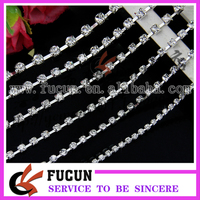 Clear Crystal Rhinestone Cup Chain Silver Plated Chain Trim