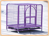 Double Door Iron Dog Cages With Wheels
